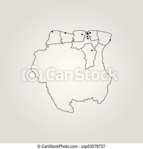 Mapa De Suriname Ilustracion De Vectores Mapa Mundial