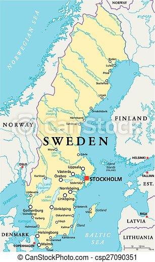 Mapa Szwecja Polityczny Mapa Scaling Illustration Narodowy
