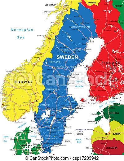 Mapa Szwecja Szczegolowy Mapa Glowny Kanal Okolice Wysoko