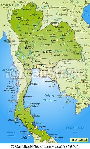 Mapa Tajlandia Przebadany Mapa Tajlandia Zielony Przebadany