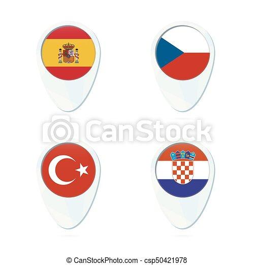 mapa, tcheco, flag., república, croácia, peru, icon., espanha, ponteiro - csp50421978