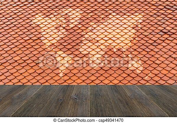 Textura De Techo De Baldosas Con Terraza De Madera Con Mapa