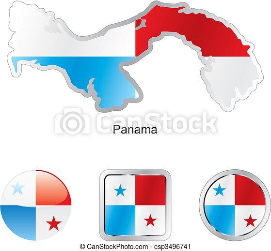 mapa, tela, panamá, botones, bandera, formas - csp3496741