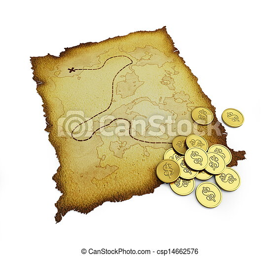 Mapa del tesoro quemada - csp14662576