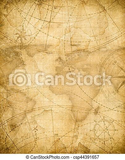 Los antiguos piratas mapa del fondo del mapa del tesoro - csp44391657
