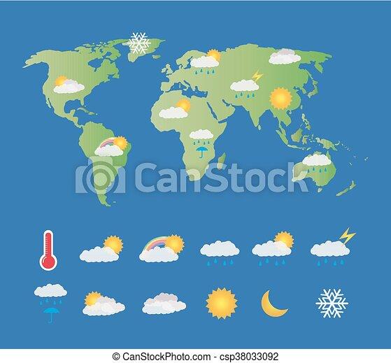 Mapa Del Tiempo En El Mundo.Mapa Tiempo Conjunto Icono Mundo