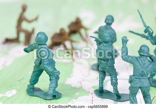 mapa, topográfico, exército, homens lutando, plástico, batalha - csp5655899
