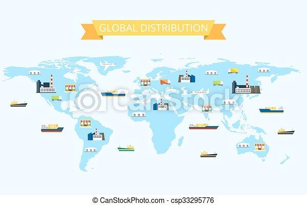 mapa, transporte, almacenes, ilustración, internacional, mundo, plantas, distribución, tiendas - csp33295776