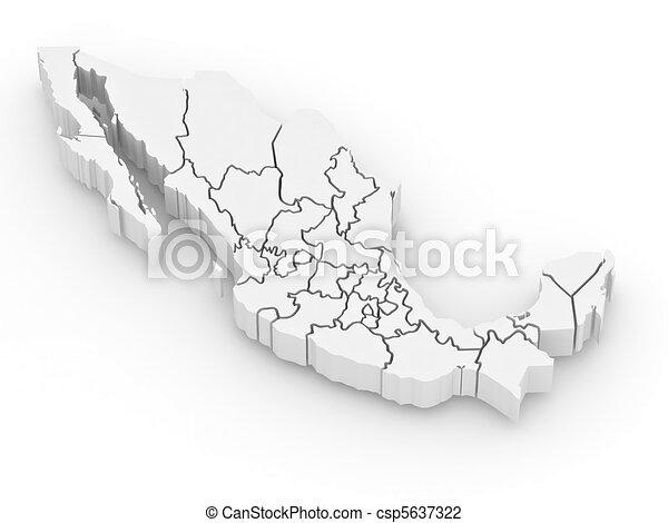 Un mapa tridimensional de México - csp5637322