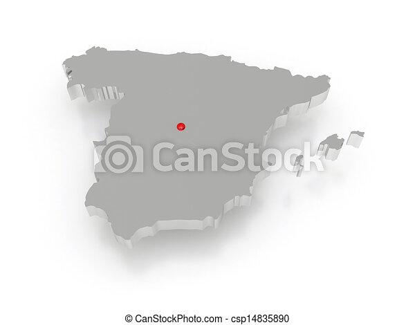 Un mapa tridimensional de España. - csp14835890