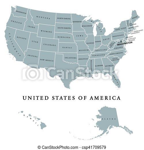 Mapa, unido, estados unidos de américa, político, estados, américa ...