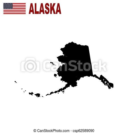 Mapa del estado de Alaska en un fondo blanco. - csp62589090