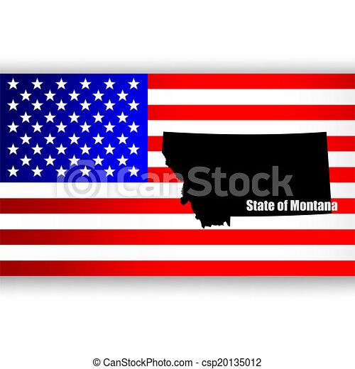 Mapa del estado americano de Montana - csp20135012