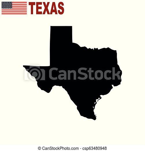Mapa del estado de Texas de EE.UU. sobre un fondo blanco. - csp63480948
