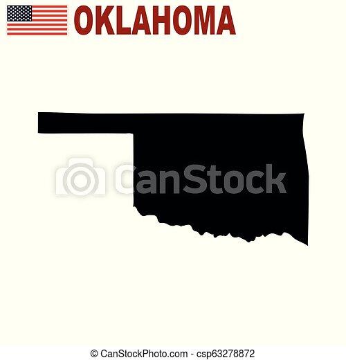 Mapa del estado de Oklahoma en un fondo blanco. - csp63278872