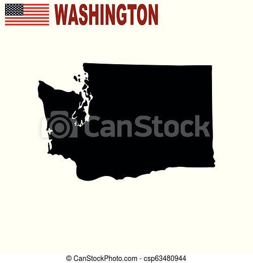 Mapa del estado de Washington sobre un fondo blanco. - csp63480944