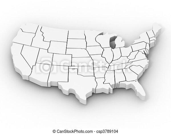 mapa, usa - csp3789104