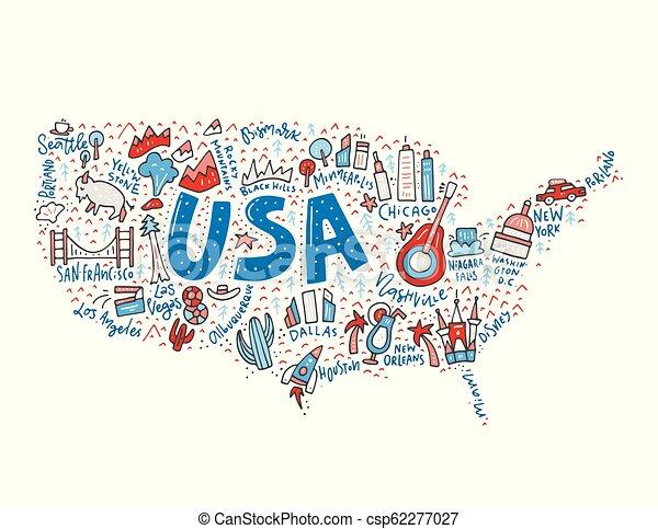 Vector de mapa de EE.UU - csp62277027