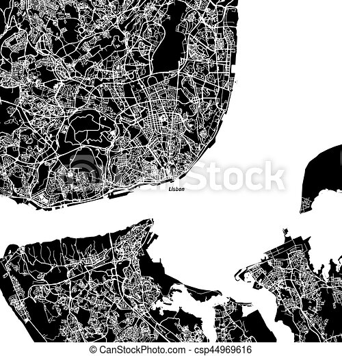 El mapa vectorial de Lisboa - csp44969616