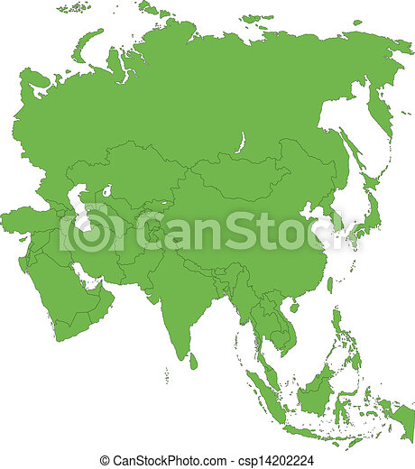 Mapa de Asia verde - csp14202224