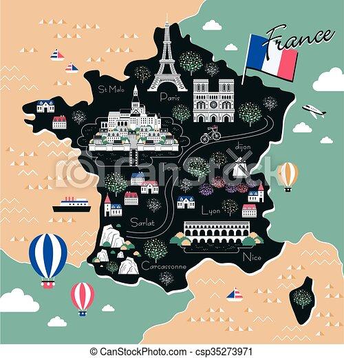 El mapa de viajes de Francia - csp35273971