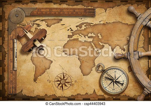 El viejo mapa náutico sigue siendo la vida como aventura, viaje y exploración temática - csp44403943