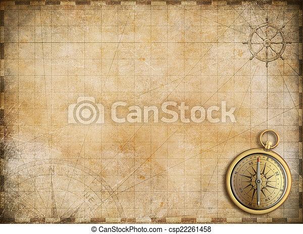 Un viejo mapa con la brújula de bronce como exploración y backgrou de aventura - csp22261458