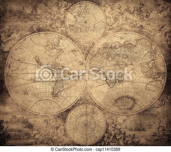 mapa, vindima, 1675-1710, mundo, circa - csp11410389