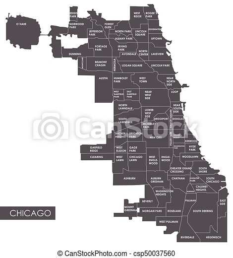 mapa, wektor, okręg, chicago - csp50037560