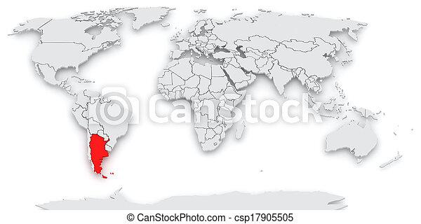 mapa, world., argentines. - csp17905505