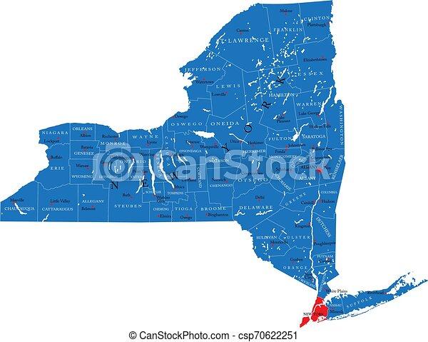 Mapa política del estado de Nueva York - csp70622251