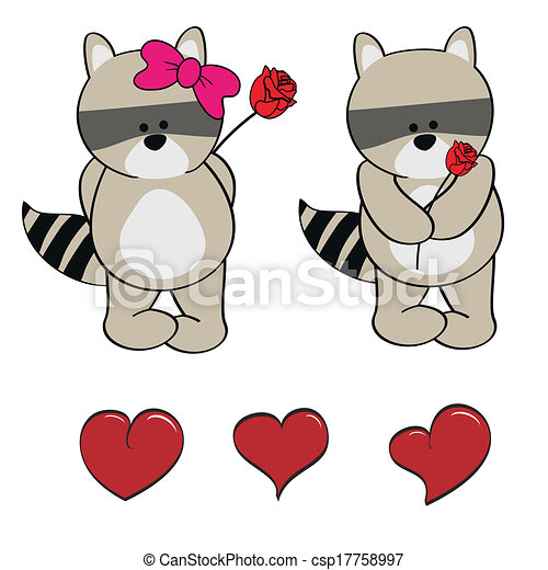 Raccoon bebé lindos dibujos animados - csp17758997
