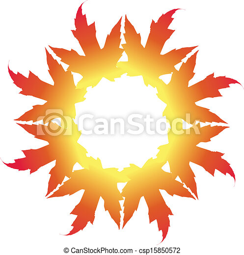Maple Leaf Illustration in a circle - csp15850572