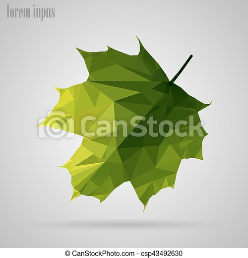Maple leaf in the style of triangulation on a white background - csp43492630