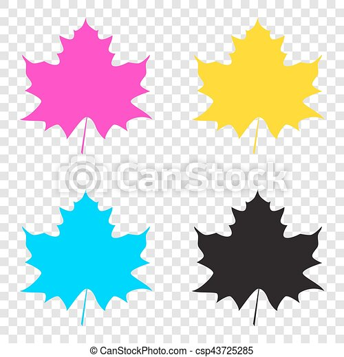 Maple leaf sign. CMYK icons on transparent background. Cyan, mag - csp43725285
