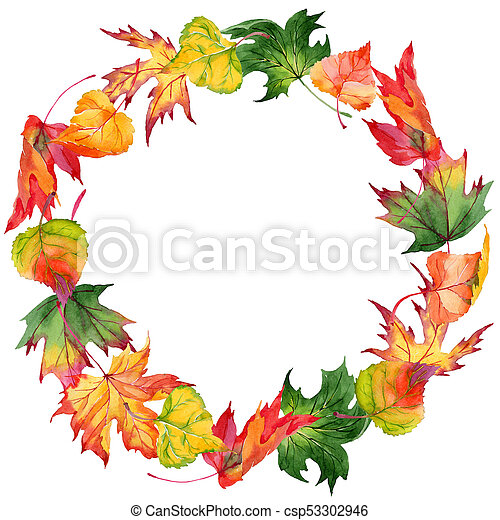 maple leaves wreath in a watercolor style aquarelle maple stock