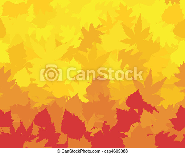 Maple, oak, chestnut and beech leaves in saturated yellows, oranges, and reds forming a colorful autumn wallpaper. - csp4603088