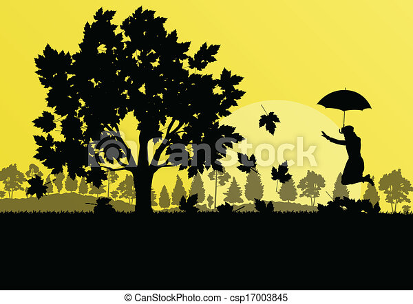 Line Art Umbrella : Maple tree autumn leaves and girl with umbrella background eps