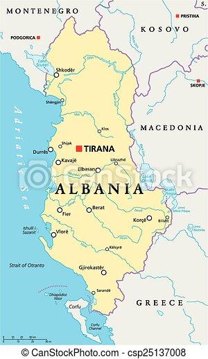 Cartina Albania Fisica.Mappa Albania Politico Mappa Albania Illustration Profili Di Fodera Capitale Nazionale Politico Etichettare Fiumi Canstock