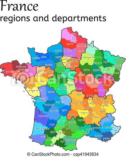 Dipartimenti Francia Cartina.Mappa Amministrativo Francia