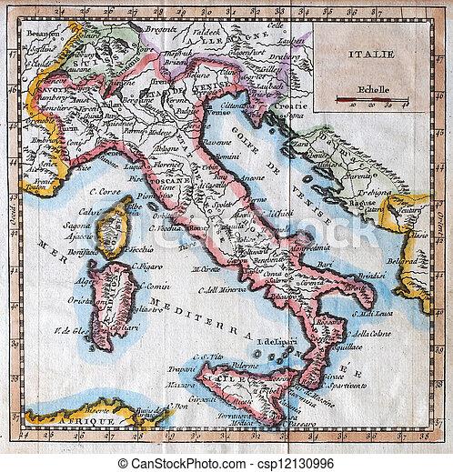 Italia Cartina Antica.Mappa Antica Italia Originale Secolo Italia Xviiith Mappa Colorato Canstock
