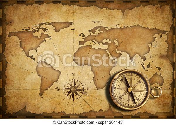 mappa antica, vecchio, nautico, tasca, bussola, ottone, invecchiato - csp11364143