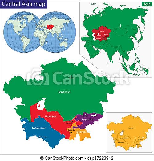 mappa, asia centrale - csp17223912