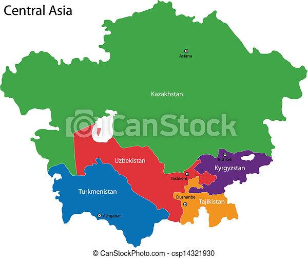 Cartina Asia Da Colorare.Mappa Asia Centrale Colorare Asia Centrale Diviso Mappa Paesi Canstock
