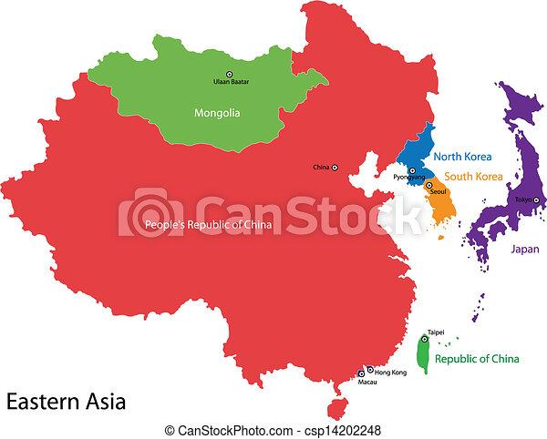 Cartina Mondo Orientale.Mappa Asia Orientale Colorare Asia Diviso Orientale Mappa Paesi Canstock