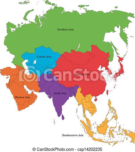 Cartina Asia Da Colorare.Mappa Asia Regioni Mappa Sei Asia Colorito Canstock