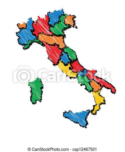 Cartina Italia Bambini.Mappa Bambini Italia Mappa Schizzo Italia Colori Mano Colpo Vettore Disegnato Freddo Canstock