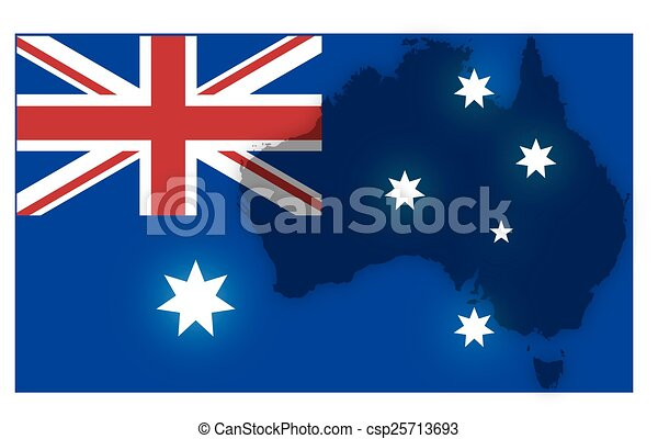 mappa, bandiera australiana - csp25713693
