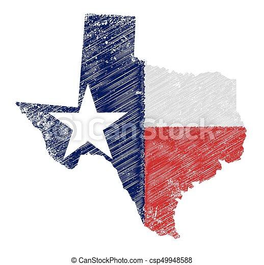 mappa, bandiera, grunge, texas - csp49948588
