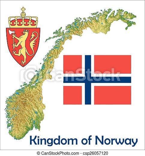 Cartina Politica Norvegia.Mappa Bandiera Norvegia Cappotto Mappa Vista Aereo Norvegia Canstock